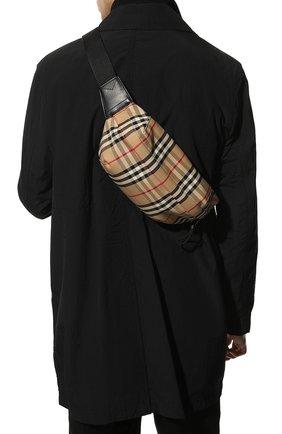 Мужская текстильная поясная сумка BURBERRY бежевого цвета, арт. 8010430 | Фото 2