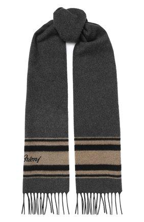 Мужской кашемировый шарф BRIONI серого цвета, арт. 031B00/08372 | Фото 1