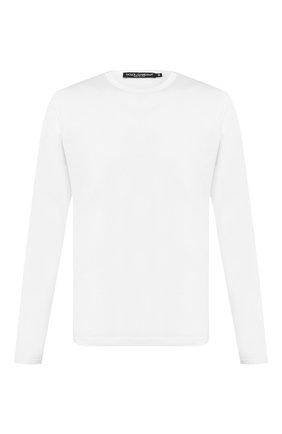 Мужская хлопковый лонгслив DOLCE & GABBANA белого цвета, арт. G8KF6T/FU7EQ   Фото 1