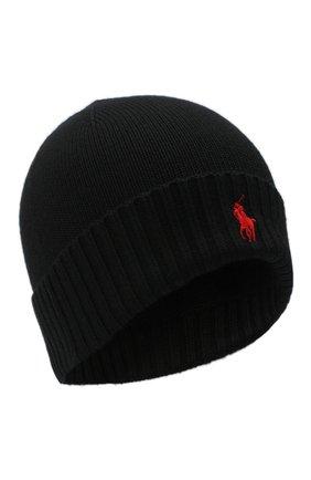 Мужская шерстяная шапка POLO RALPH LAUREN черного цвета, арт. 710761415 | Фото 1