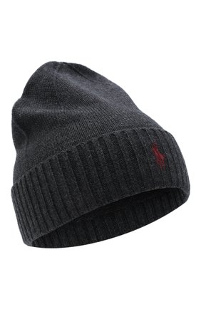 Мужская шерстяная шапка POLO RALPH LAUREN темно-серого цвета, арт. 710761415 | Фото 1