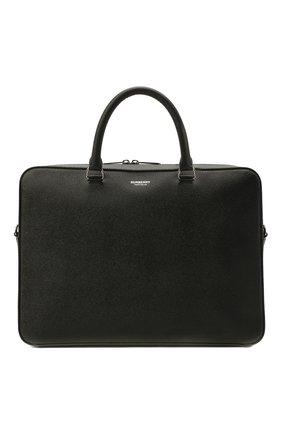 Мужская кожаная сумка для ноутбука BURBERRY черного цвета, арт. 8014265 | Фото 1