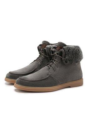 Мужские замшевые ботинки SANTONI серого цвета, арт. MGYA13601TISASYWG62 | Фото 1