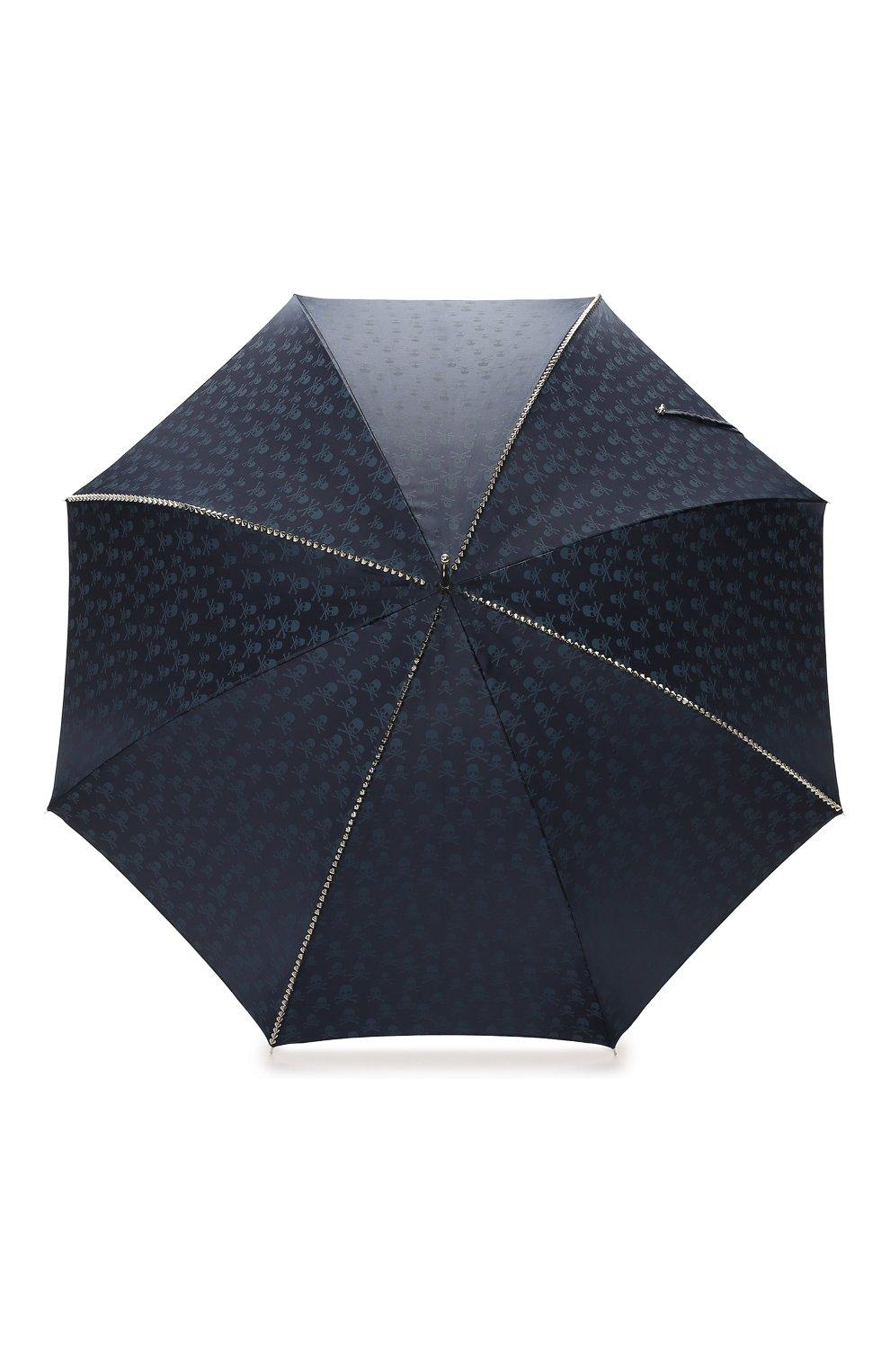 Мужской зонт-трость PASOTTI OMBRELLI темно-синего цвета, арт. 416N/PLAT. BLU+TESCHI/W33 | Фото 1 (Материал: Текстиль, Синтетический материал, Металл; Статус проверки: Проверено, Проверена категория)