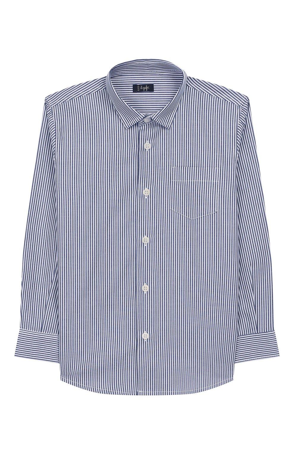 Детская хлопковая рубашка IL GUFO синего цвета, арт. A19CL110C1052/10А-12А | Фото 1