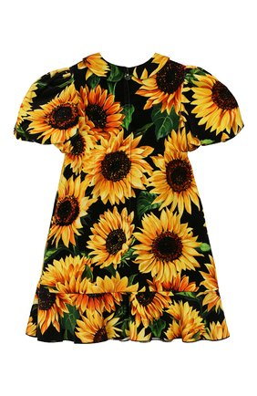Детское хлопковое платье DOLCE & GABBANA желтого цвета, арт. L51DT6/FSWB0/2-6 | Фото 2