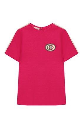 Детский футболка из вискозы GUCCI фуксия цвета, арт. 578063/XJBEB | Фото 1