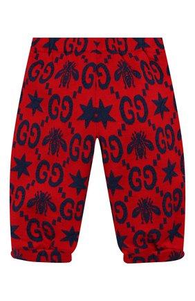 Детские хлопковые джоггеры GUCCI красного цвета, арт. 575043/XJA99 | Фото 2