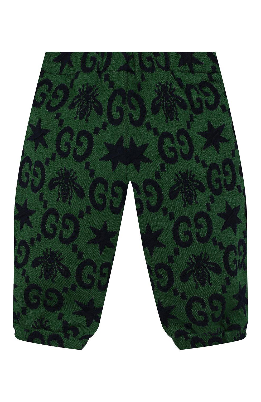 Детские хлопковые джоггеры GUCCI зеленого цвета, арт. 575043/XJA99 | Фото 2