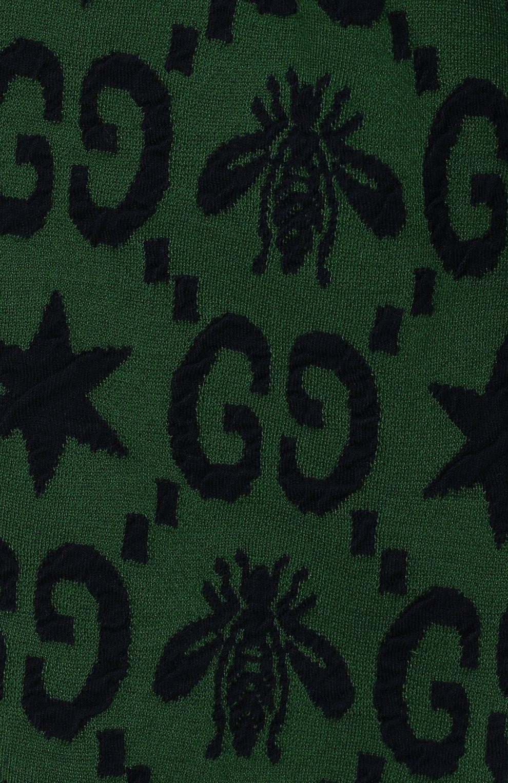 Детские хлопковые джоггеры GUCCI зеленого цвета, арт. 575043/XJA99 | Фото 3
