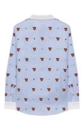 Детская хлопковая рубашка GUCCI голубого цвета, арт. 574554/XWAFM | Фото 2