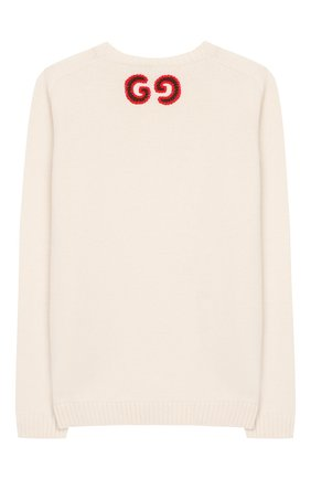 Детский шерстяной пуловер GUCCI белого цвета, арт. 570119/XKAQB | Фото 2