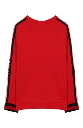 Детский хлопковый пуловер GUCCI красного цвета, арт. 520748/X9L52 | Фото 2