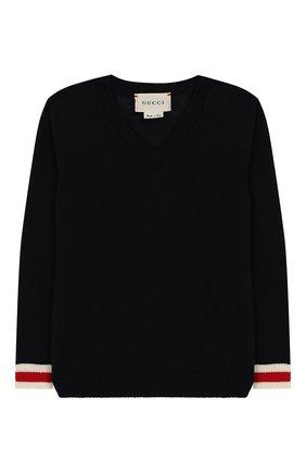 Детский шерстяной пуловер GUCCI синего цвета, арт. 418776/X1284 | Фото 1