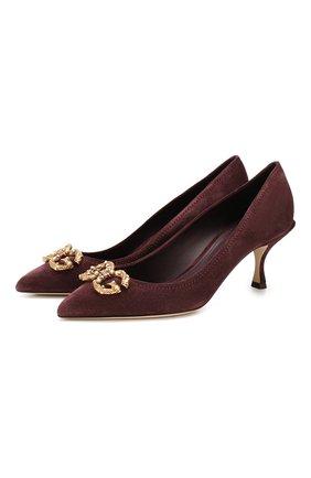Женская замшевые туфли lori DOLCE & GABBANA бордового цвета, арт. CD1360/AV301 | Фото 1