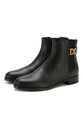 Женские кожаные ботинки rodeo DOLCE & GABBANA черного цвета, арт. CT0596/A3444 | Фото 1