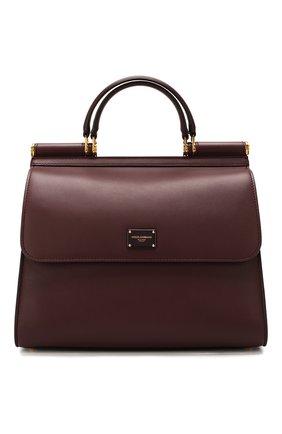 Женская сумка sicily 58 large DOLCE & GABBANA бордового цвета, арт. BB6621/AA625 | Фото 1 (Материал: Натуральная кожа; Сумки-технические: Сумки top-handle; Размер: large)