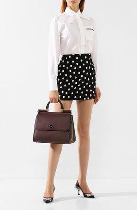 Женская сумка sicily 58 large DOLCE & GABBANA бордового цвета, арт. BB6621/AA625 | Фото 2 (Материал: Натуральная кожа; Сумки-технические: Сумки top-handle; Размер: large)
