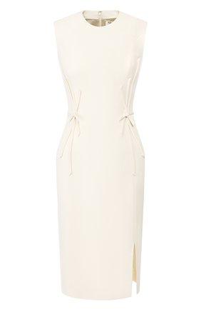 Женское шерстяное платье ATELIER CAITO FOR HERVE PIERRE белого цвета, арт. C101 | Фото 1