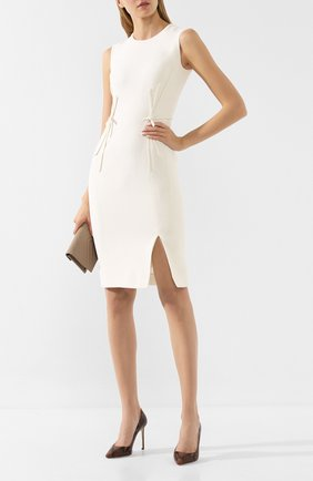 Женское шерстяное платье ATELIER CAITO FOR HERVE PIERRE белого цвета, арт. C101 | Фото 2