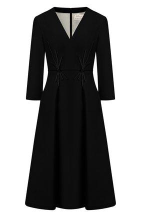 Женское платье из смеси шелка и шерсти ATELIER CAITO FOR HERVE PIERRE темно-синего цвета, арт. C105 | Фото 1