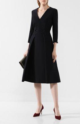 Женское платье из смеси шелка и шерсти ATELIER CAITO FOR HERVE PIERRE темно-синего цвета, арт. C105 | Фото 2