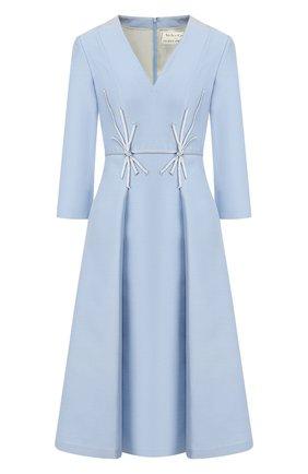 Женское платье из смеси шелка и шерсти ATELIER CAITO FOR HERVE PIERRE голубого цвета, арт. C105 | Фото 1