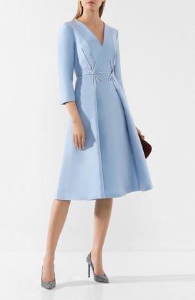 Женское платье из смеси шелка и шерсти ATELIER CAITO FOR HERVE PIERRE голубого цвета, арт. C105 | Фото 2