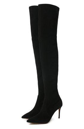 Женские замшевые ботфорты CASADEI черного цвета, арт. 1T853E0801T00059000 | Фото 1