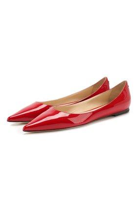 Женские кожаные балетки love JIMMY CHOO красного цвета, арт. L0VE FLAT/PWJ | Фото 1