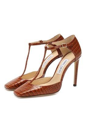 Женская кожаные туфли lexica 100 JIMMY CHOO коричневого цвета, арт. LEXICA 100/CCL | Фото 1