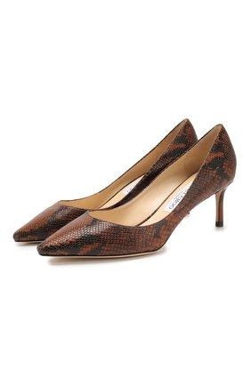 Женская кожаные туфли romy 60 JIMMY CHOO коричневого цвета, арт. R0MY 60/NKE | Фото 1