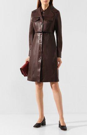 Женский кожаный плащ liskeard BURBERRY темно-коричневого цвета, арт. 8013693   Фото 2