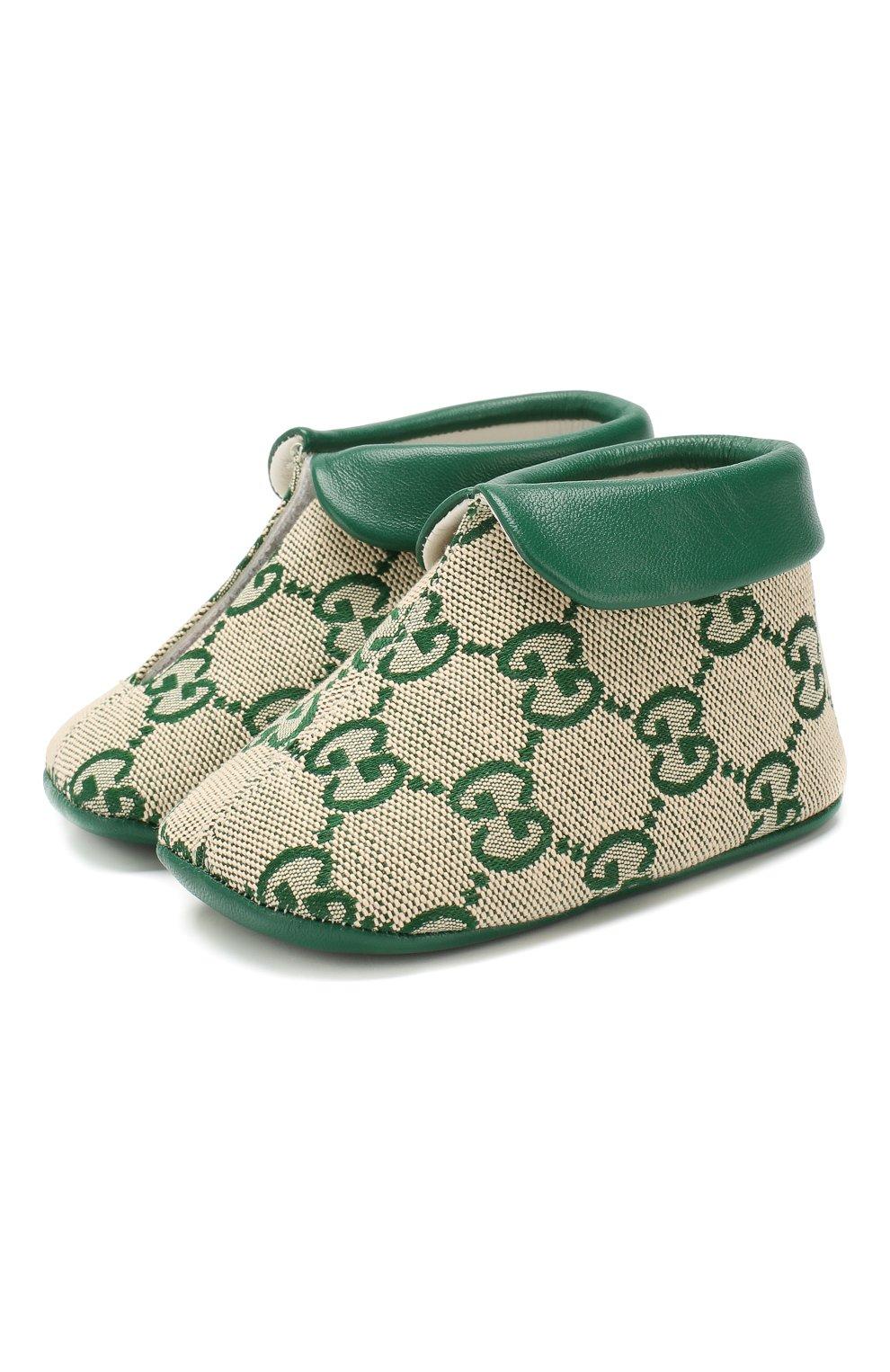 Детского текстильные пинетки GUCCI зеленого цвета, арт. 579897/9SF80 | Фото 1