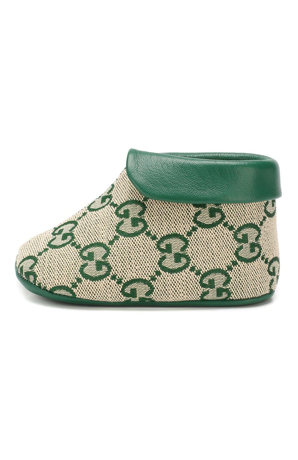 Детского текстильные пинетки GUCCI зеленого цвета, арт. 579897/9SF80 | Фото 2