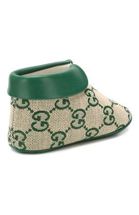 Детского текстильные пинетки GUCCI зеленого цвета, арт. 579897/9SF80 | Фото 3