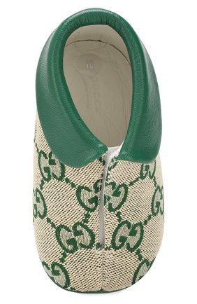 Детского текстильные пинетки GUCCI зеленого цвета, арт. 579897/9SF80 | Фото 4