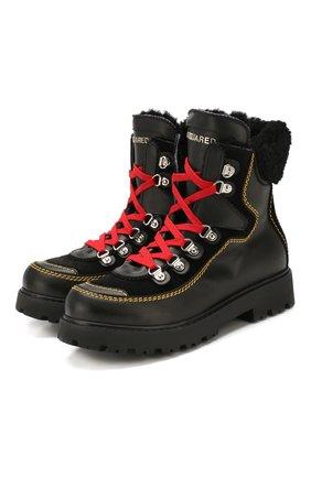 Кожаные ботинки с меховой отделкой   Фото №1