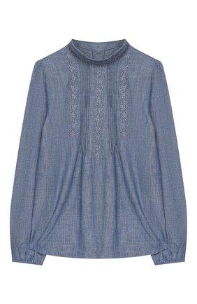 Детское хлопковая блузка POLO RALPH LAUREN голубого цвета, арт. 313751171 | Фото 1