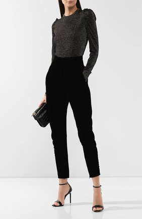 Женские брюки с завышенной талией GIORGIO ARMANI черного цвета, арт. 9WHPP099/T0023 | Фото 2 (Статус проверки: Проверено, Проверена категория; Женское Кросс-КТ: Брюки-одежда; Материал внешний: Купро, Вискоза; Длина (брюки, джинсы): Укороченные)