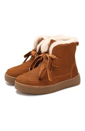 Детские кожаные ботинки DONSJE AMSTERDAM хаки цвета, арт. 0817-BL004-00000 | Фото 1