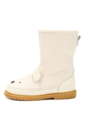 Детские кожаные сапоги с отделкой из меха DONSJE AMSTERDAM белого цвета, арт. 0810-ST074-CB007 | Фото 2