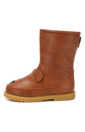 Детские кожаные сапоги DONSJE AMSTERDAM коричневого цвета, арт. 0808-ST018-CL004 | Фото 2