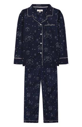 Детская хлопковая пижама LITTLE YOLKE синего цвета, арт. AW19-12C-TL-EC/1-8Y | Фото 1