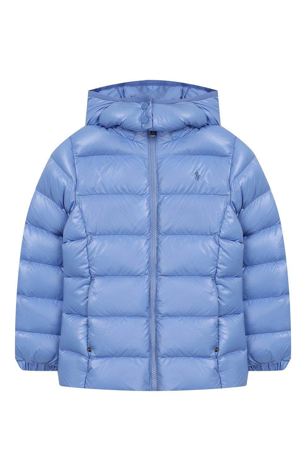 Детского пуховая куртка с капюшоном POLO RALPH LAUREN голубого цвета, арт. 312748046 | Фото 1