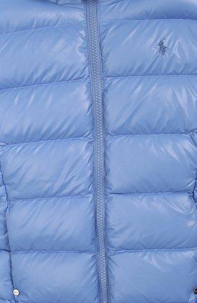 Детского пуховая куртка с капюшоном POLO RALPH LAUREN голубого цвета, арт. 312748046 | Фото 3