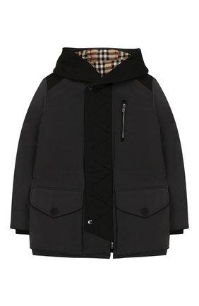 Детский пуховая куртка с капюшоном BURBERRY темно-серого цвета, арт. 8013468 | Фото 1