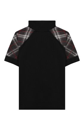 Детская хлопковая футболка с воротником-стойкой BURBERRY черного цвета, арт. 8011056 | Фото 2