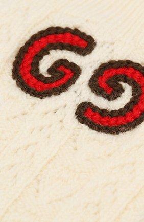Детские шерстяные носки GUCCI бежевого цвета, арт. 581576/4K206   Фото 2