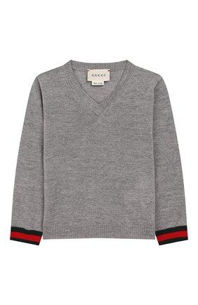 Детский шерстяной пуловер GUCCI серого цвета, арт. 418776/X1284 | Фото 1